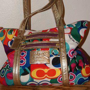 Large Colorful Coach Poppy shoulder bag